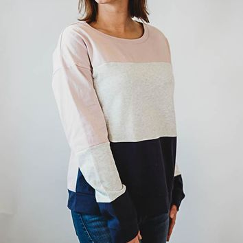 Colorblock Sweatshirt - Pink/Blue