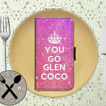 You Go Glen Coco Quote Funny Pink Sparkle Glitter Cute Wallet Phone Case For iPhone 4 and 4s and iPhone 5 and 5s and 5c iPhone 6 and 6 Plus