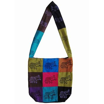 Handmade Cotton Bohemian Sling Hippie Elephant Design Hobo Bag Shopping Tote Work Bag