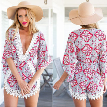 Vintage Print Bell Sleeve V-Neck with Crochet Lace Accent Romper