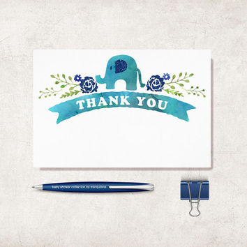 Elephant Thank You Card Printable, Digital file, Instant Download - Baby Shower Thank you Card