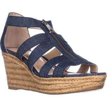 Lauren Ralph Lauren Kelcie Platform Wedge Sandals, Blue, 8 US / 39 EU