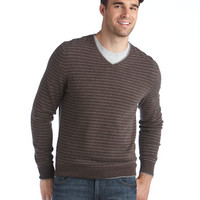 Black Brown 1826 Cashmere Striped V-Neck Sweater