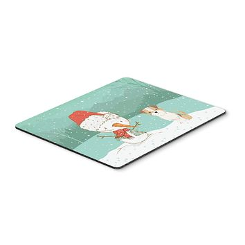 Brown and White Terrier Snowman Christmas Mouse Pad, Hot Pad or Trivet CK2096MP