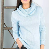 Blue Turtle-Neck Long-Sleeve Knitted Sweater