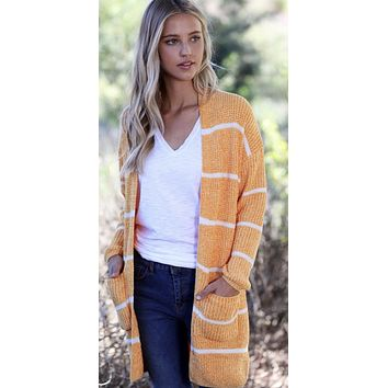 Mustard Stripe Knit Cardigan