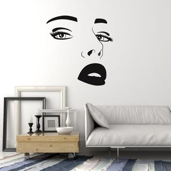Vinyl Wall Decal Beautiful Female Face Sexy Eyes Lips Beauty Salon Stickers Mural Unique Gift (ig5203)