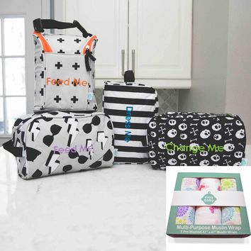 Easy Baby Travelers Starter Set and 3 Pack Swaddles Bundle
