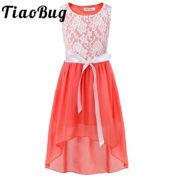 TiaoBug Kids Girls Flower Lace Dress Children Princess Dress Pageant Formal Tulle Summer Party Dress for Wedding Bridesmaid