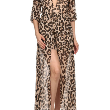 Caped In the Wild Romper (Brown)