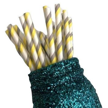 "7.75"" gray & yellow two toned stripe paper straws / 6-25 pieces"