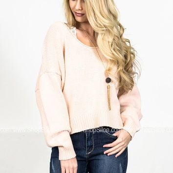 Oversize Peach Knit Sweater