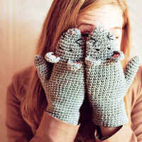 FOR KIDS Mouse Mittens Gloves Gift Wool Crochet Winter Cold Days Woman Girl Teens Cozy  Grey Animals Fun