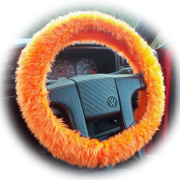 Plain Orange faux fur car Steering wheel cover by PoppysCrafts