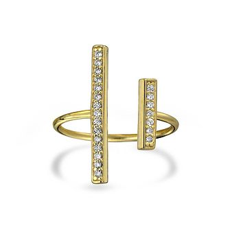 CZ Vertical Bars Knuckle Midi Ring 14K Gold Plate Sterling Silver