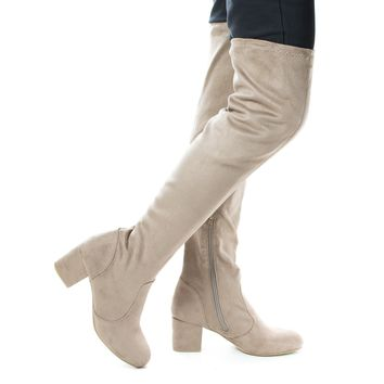 autumn04s Lt Taupe By Bamboo, Light Taupe Suede Over Knee OTK Pull On High Block Heel Boots