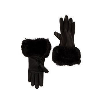Ted Baker London Women's Black Faux Fur Trim Leather Gloves