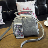 Small Gray Leather Crossbody Handbag Shoulder Bag