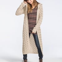Full Tilt Open Stitch Womens Hooded Duster Cardigan Oatmeal  In Sizes