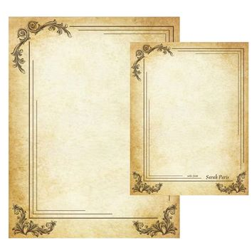 Vintage Aged Parchment Stationery Victorian Scrolls