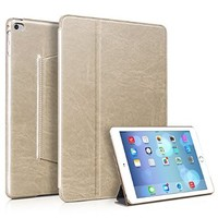 iPad Air 2 Case, [Classic Retro Style] Premium PU Leather Case Smart Cover, [Stand Function & Auto Wake/Sleep Feature] Ultra-thin Slim Flip Case For iPad Air 2(iPad 6th gen) (MM542) (Gold)