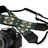 Native American Camera strap.  Southwestern Ethnic Camera strap.  DSLR Camera Strap. Camera accessories.  Nikon Canon camera strap. Green
