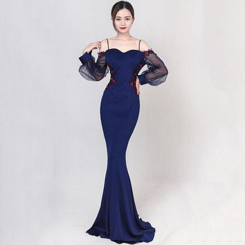 Blue Cotton & Mesh Floral Appliques Spaghetti Strap Slash Neck Backless Long Lantern Sleeve Sexy Dresses Party Night Club Dress