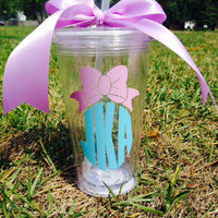 Monogrammed Hairbow Tumbler; Personalized; Cute as can be!!