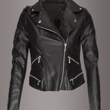 Jaded Faux Leather Moto Jacket with Faux Fur Lining