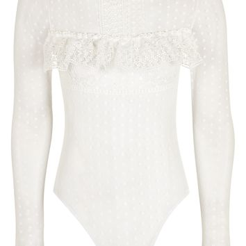 Lace Spot Mesh Long Sleeve Body | Topshop