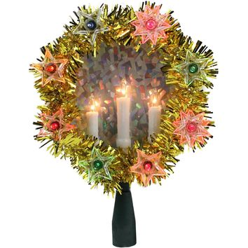 "7"" Gold Tinsel Wreath with Candles Christmas Tree Topper Multi Lights"