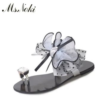 Ms. Noki floral sweet sandals women Crystal flat sandals women 2017 summer ankle strap low heel casual shoes
