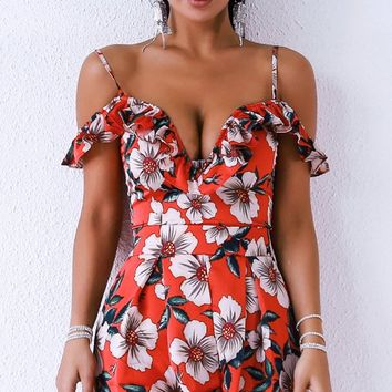 Fresh Squeezed Red White Island Floral Pattern Off The Shoulder Ruffle V Neck Romper Playsuit