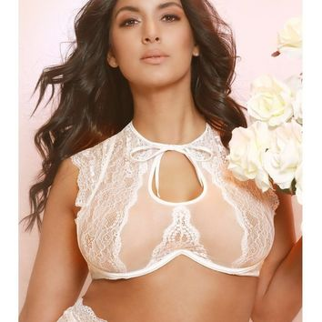 Oh La La Cheri OLL-11-10736X Diane Romantic Lace High Neck Bra