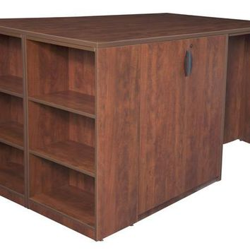 Legacy Stand Up 2 Storage Cabinet/ 2 Desk Quad with Bookcase End- Cherry