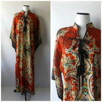 70s Dashiki Maxi Dress Vintage Multi Color Ethnic Print Bell Sleeves Size S/M/L Cotton Hippie Boho Festival Dresses 1970s Bohemian Hippy