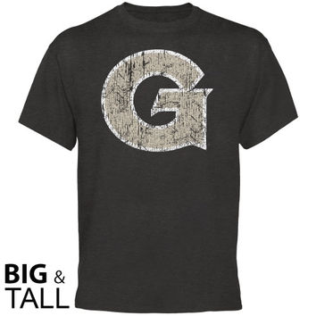 Georgetown Hoyas Distressed Primary Big and Tall T-Shirt - Charcoal