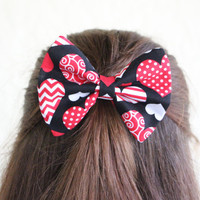 Hair Bow Vintage Inspired 1920s Valentine's Day Heart Hair Bow Clip Rockabilly Pin up Teen Woman Alligator Clip, French Barrette