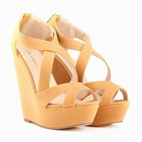 LOSLANDIFEN Wedges Cross-tied Women Sandals Lady Faux Suede Platform Peep Toe High Hee