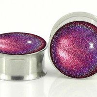 Infra Maroon Holographic Plugs Embedded Resin Filled by GlitzGauge