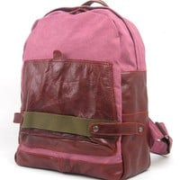 MEKU Leather Canvas Daypack School Backpack Wine Red