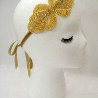 Gatsby headband Daisy Buchanan, 1920s headpiece, flapper headpiece, gold art deco, Downton Lady Mary, wedding headband, gold 20s headband