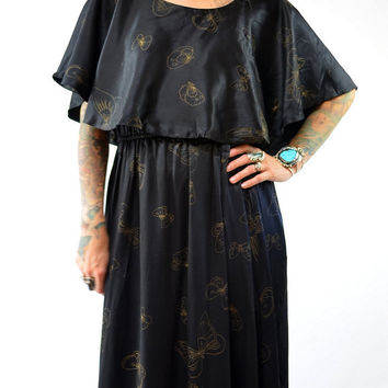 Vintage 70s Butterfly Disco Black Satin Full Length Maxi Dress