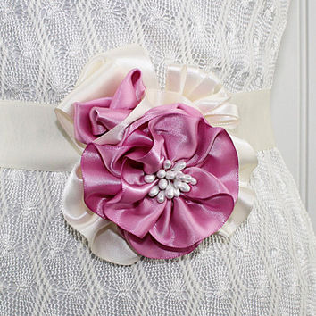 Pink and Ivory Wedding Sash Corsage Flower Pin Hand Made Millinery Bridesmaid Bridal Prom Ribbonwork Mother of the Bride Easter Corsage