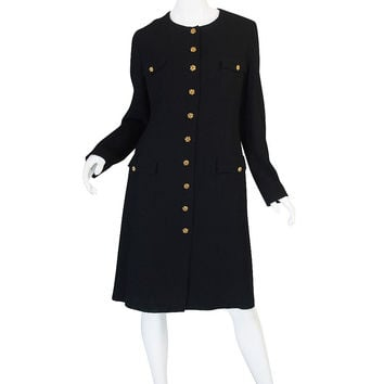 1996A Runway Chanel Coat Dress w Cabochon Buttons