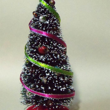 Miniature Decorated Bottle Brush Christmas Tree - Medium - Pink and Green Ribbons - One Inch Scale
