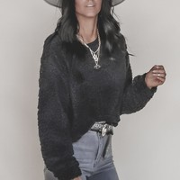 Fireside Black Furry Sweater