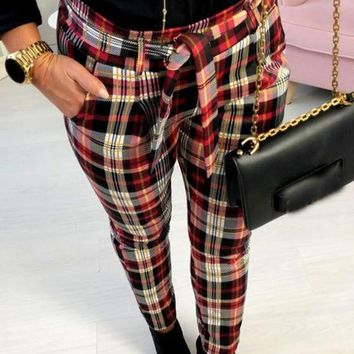 New Red Plaid Sashes High Waisted Casual Long Pants