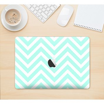 "The Light Teal & White Sharp Chevron Skin Kit for the 12"" Apple MacBook"