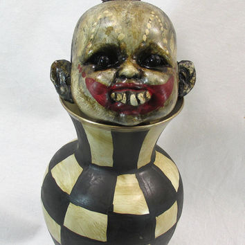 Dark Circus Horror Creepy Curiosity Pin Head Altered Art Doll Assemblage/Glass Hand Painted Vase*Artist/L.Cerrito Cirque Carnival Prop Rare
